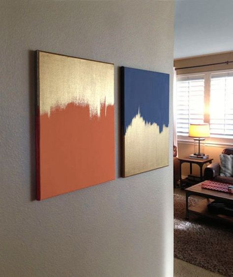 Gold and solid colored canvas | 23 DIY Projects For People Who Suck At DIY
