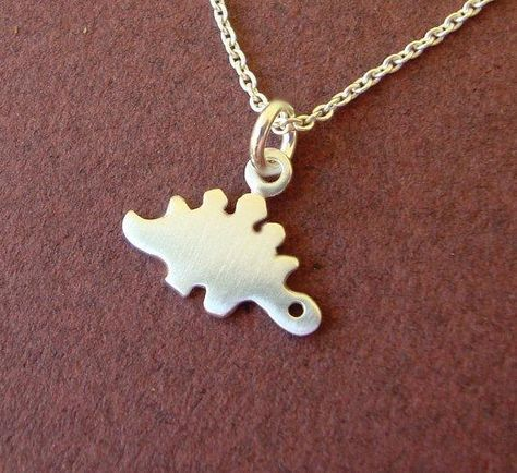 Sterling Silver Stegosaurus Dinosaur Charm Pendant on a Box Chain Necklace