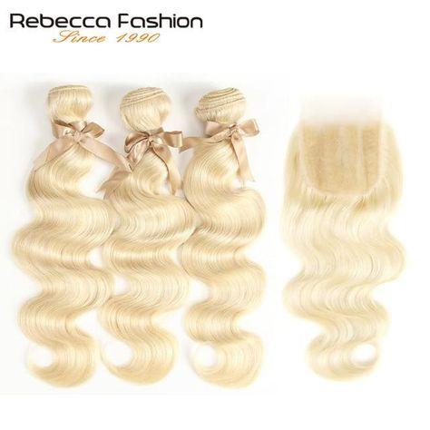 Brand Name: Rebecca fashionTexture: Body WaveLongest Hair Proportion: >=10%Origin: CN(Origin)Suitable Dying Colors: All ColorsChemical Processing: BleachingCan Be Permed: YesPackaging: 3 pcs Weft & 1 pc ClosureHuman Hair Type: Brazilian Hair
