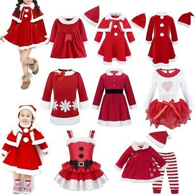 Kids Girls Christmas Outfit Fancy Dress Santa Claus Costume Xmas Party Cosplay