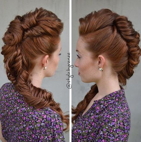 Twisted updo faux hawk avec queue de poisson tresse