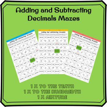 Adding And Subtracting Decimals Mazes Subtracting Decimals Decimals Subtraction Subtracting decimals horizontal worksheet