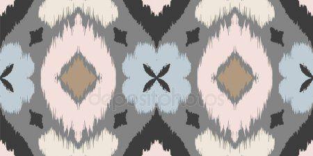 Grey White Diamond Ikat Aztec Pattern