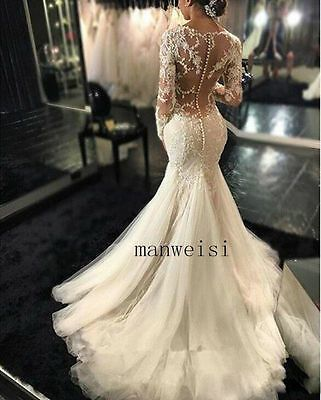 Find Many Great New Used Options And Get The Best Deals For Plus White Ivory Backless Mermaid Wedding Dresses Ivory Lace Wedding Dress Mermaid Wedding Dress