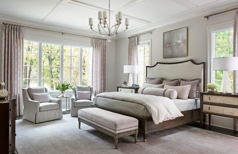 From the large, 32 panel window, to the coffered ceiling, and statement lighting, this room is dripping with elegance. #masterbedroomideas #masterbedroomdesign #bedroominspiration #bedroomdesign #masterbedroomlayout