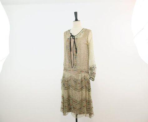 9b803f7dfb3 Antique 1920s lace flapper dress
