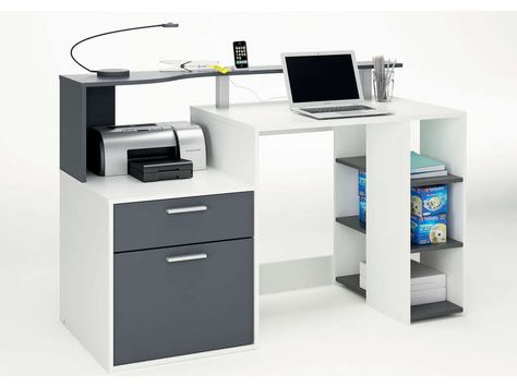 Bureau 140 Cm Oracle Coloris Blanc Et Gris Pas Cher C Est Sur