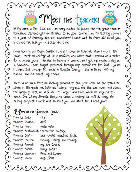 Meet the Teacher letter                                                                                                                                                     More