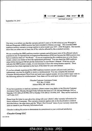 2005 2006 Jeep Wrangler Obd Ii Lifetime Warranty Letter 1 Of 2