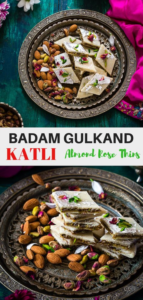 {STEP-BY-STEP} recipe with pictures. Badam Gulkand Katli #diwalirecipe #indianmithai #vegetarian