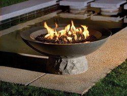 Diy Concrete Fire Pit In 2020 Fire Bowls Fire Pit Bowl Garden