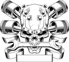 Pistons Crossed Skull Wrench Engine Car Auto Biker Mechanic ...