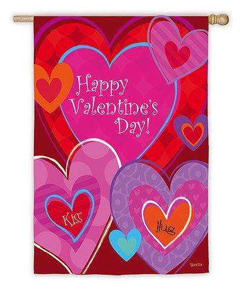 Valentine's Day: Home Décor  -  Red 'Kiss & Hug' Heart Garden Flag