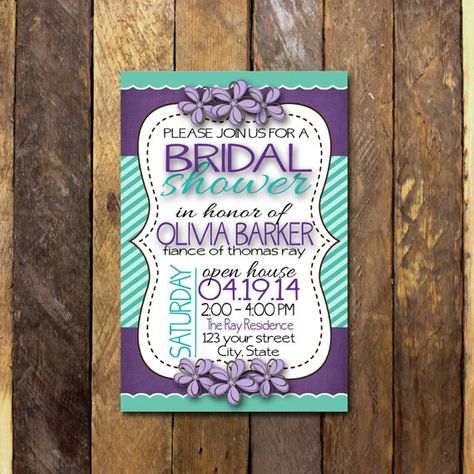 Bridal Shower Invitation 4x6 Purple and turquoise by bowpeepcreations, $10.95 customized wedding shower