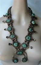 OLD Navajo Squash Blossom Necklace Silver Turquoise HUGE 296g Great Ston... - $1,484.01