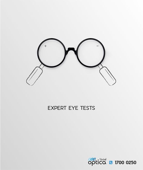 OPTICA SERVICES DIGITAL CAMPAIGN 04 Expert Eye Tests by Mohamed Rayan on behance. minimal simple and friendly Ad #behance #glasses #fashion #eyewear #ad #advertising #digitalart #art #campaign #socialmedia #services