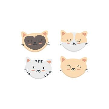 Cute Cat Face Set Collection Pet Funny Fun Png And Vector With Transparent Background For Free Download Cute Cat Face Cat Background Cat Vector