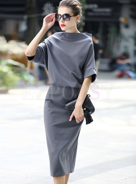 Shop for high quality Brief Slash Neck Bat Sleeve Pure Color Slim Dress online at cheap prices and discover fashion at Ezpopsy.com