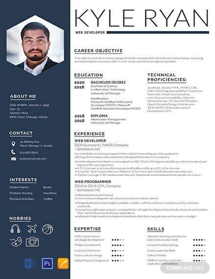 Web Developer Resume Cv Template Word Psd Apple Pages Cv Kreatif Desain Cv Desain Resume