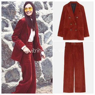 Unlu Stili Yaseminozilhan In Sezonun Modasi Fitilli Kadife Takimi Zara Ceket 479 Pantolon 269 Alisveris Linkleri Hikay Fashion Coat Two Piece Pant Set
