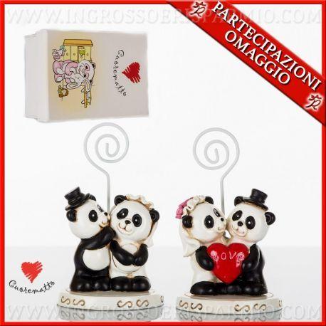 Segnaposto Matrimonio Simpatici.Segnaposti Matrimonio Coppia Sposi Panda Bomboniere Economiche