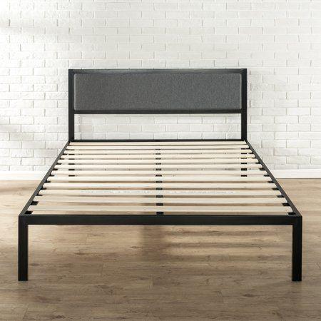 Zinus Korey 38 Metal Platform Bed With Upholstered Headboard