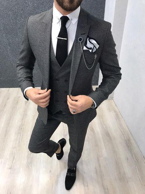 Kenzie Dark Gray Slim Fit Wool Suit