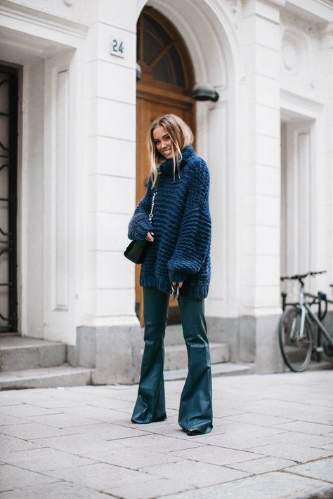chunky knit ganni leather flare pants by malene birger. - Fall-Winter 2017 - 2018 Street Style Fashion Looks