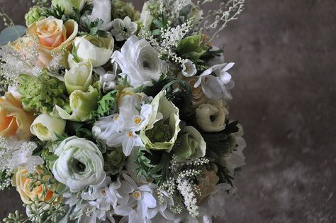 Anemones, Scabiosa, Ranunculus, Astilbe, Narcissus, Roses, Dusty Miller, Seeded Eucalyptus