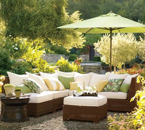 Build Your Own - Palmetto All-Weather Wicker Sectional Components - Honey   Pottery Barn
