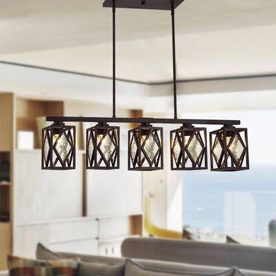 Carmen 6 Light Kitchen Island Linear Pendant Kitchen Island Chandelier Kitchen Lighting Living Room Designs