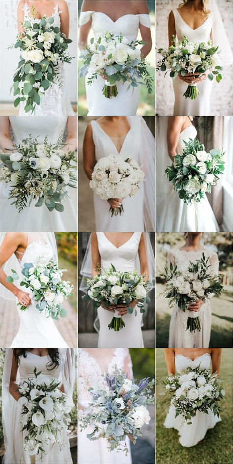 35 Simple White and Greenery Wedding Bouquets - Wedding interests Simple Wedding Bouquets, White Wedding Flowers, Floral Wedding, Fall Wedding, Bouquet Wedding, Wedding White, White Wedding Flower Arrangements, Church Wedding, Green Wedding
