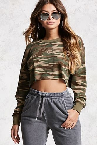Forever 21 Camo Waffle Knit Crop Top Found on my new favorite app Dote Shopping