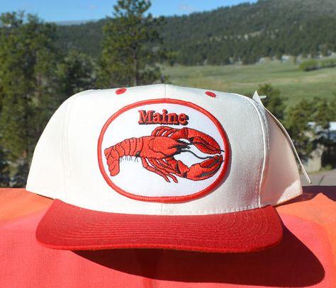 85ff21b3294e17 vintage nwt 80s baseball cap MAINE LOBSTER trucker hat