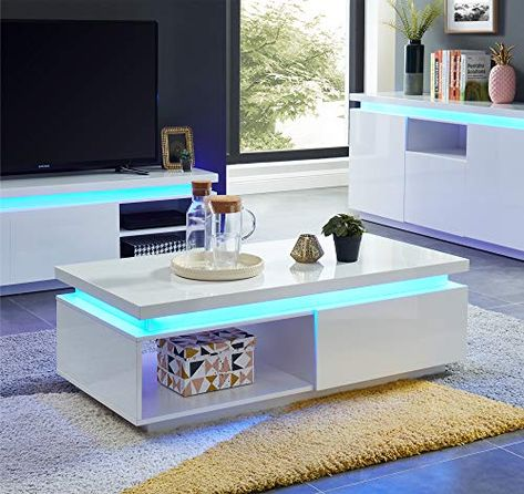 Baita Cosmos Table Basse A Led Laque Blanc 120cm En 2020 Table