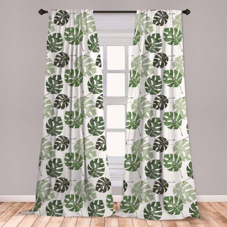 Monstera Curtains 2 Panels Set Tropical Jungle Foliage Hawaiian Nature Growth Sketchy Leaves Environment Eco Window Drapes For Living Room Bedroom Green And In 2021 Custom Drapes Curtains Panel Curtains