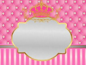 FBL arte digital: kit festa infantil com tema realeza para meninas com as cores rosa e dourado
