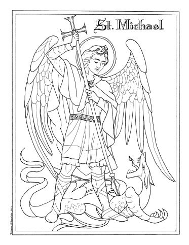 St Michael The Archangel Coloring Rebecca Gorzynska Catholic Coloring Coloring Books Saint Coloring
