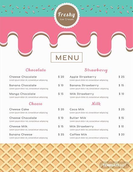 Free Ice Cream Menu Ice Cream Menu Menu Template Desserts Menu