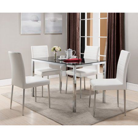 K B Furniture Belmont White Dining Chair Set Of 4 Walmart Com In 2020 Rectangle Dining Table Dining Table In Kitchen White Dining Chairs