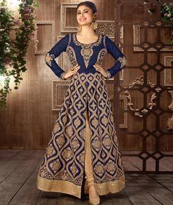 Buy Mouni Roy Blue Faux Georgette Designer Anarkali Suit 75616 online at lowest…
