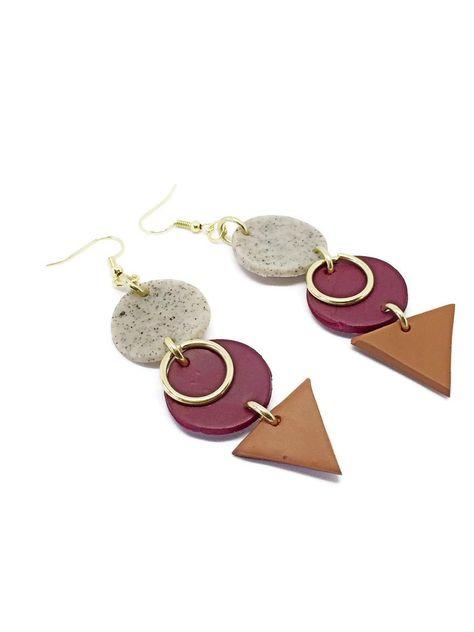 hoop earrings modern earrings statement earrings Cream and gold marble polymer clay hoops natural earrings polymer clay earrings