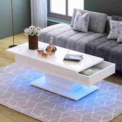 Modern White High Gloss Coffee Table Living Room With Pushable Top To Storage Ebay Coffee Table Rectangle Coffee Table Wood Black Living Room Table