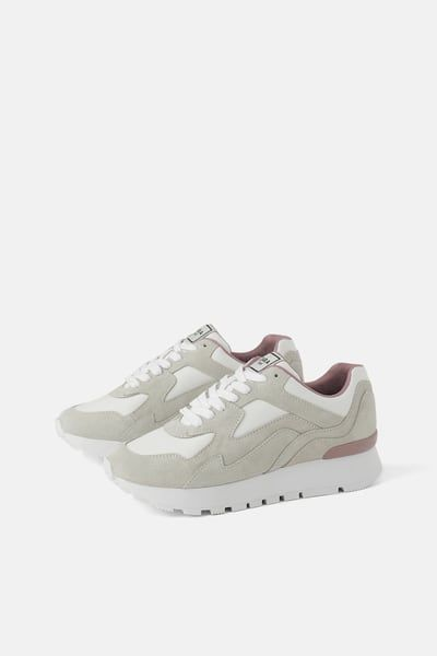 Image 1 Of Contrast Leather Sneakers From Zara Leather Shoes Woman Sneakers Multicolor Womens Shoes Sneakers