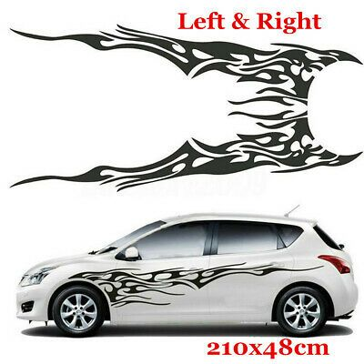 2PCS Waterproof Car Decal Vinyl Graphics Side Stickers Body Decals Sticker Black
