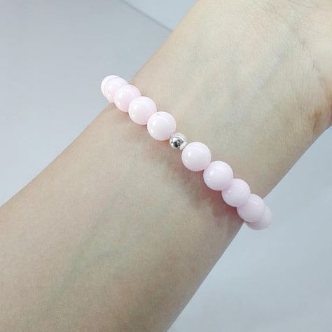 Stretch bracelet is made using 8mm Pink Jadeite round Beads,Silver 925 Ball Beads and professional elastic cord. Sizing options: 6 ; 6,5 ; 7; 7,5; 8; inches All my Jewels come in a nicely wrapping, so they are ready to be given as gifts ! ♡ ( Send with priority delivery ; with ID