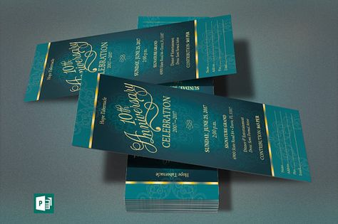 Teal Church Anniversary Publisher Ticket Template is for any - microsoft ticket template