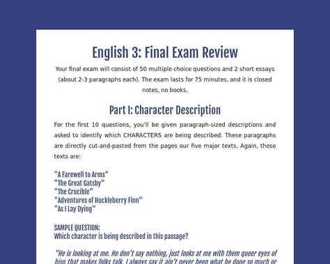 English 3 Final Exam Review Tackk Short Essay Prompts A Lesson Before Dying Topics