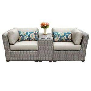 Stupendous Jumpinglight Tkc Florence 3 Piece Patio Wicker Loveseat In Andrewgaddart Wooden Chair Designs For Living Room Andrewgaddartcom