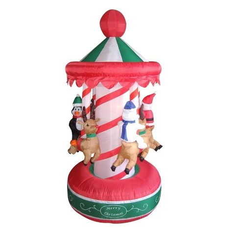 6.5' Inflatable Animated Christmas Carousel Lighted Yard Art Decoration, White